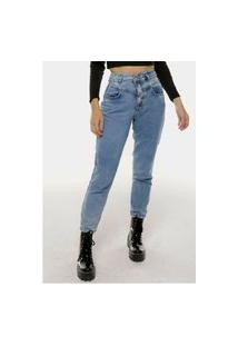 Calça Jeans Mom Marmorizada Cintura Super Alta Sob
