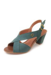 Sandália De Salto Couro Amo Calçados Lovely Verde