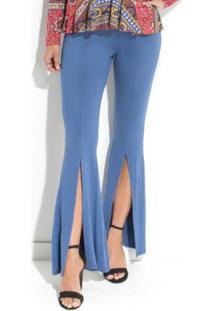 0d4cb61b7 ... Calça Azul Quintess Com Fenda Frontal