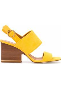 Tory Burch Sandália Com Salto Em Madeira - Amarelo