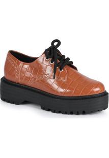 Sapato Feno Oxford Croco Caramelo