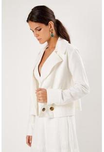 Jaqueta Textura Botões Sacada Feminina - Feminino-Off White