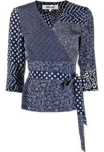 Dvf Diane Von Furstenberg Blusa Envelope Com Estampa - Azul