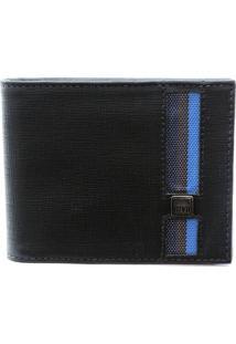 Carteira Masculina Mvb Couro Preto/Azul - Kanui