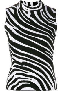 Versace Blusa De Zebra Sem Mangas - Preto