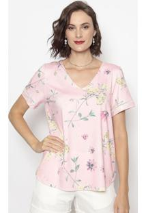 Blusa Floral- Rosa Claro & Amarela- Cotton Colors Excotton Colors Extra