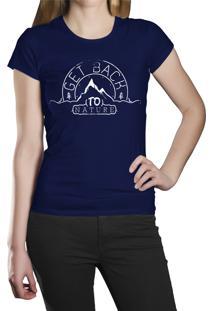Camiseta Baby Look Hshop Natureza Azul Marinho