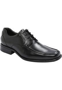 Sapato Social Em Couro Com Cadarã§O & Recortes- Pretomr. Cat