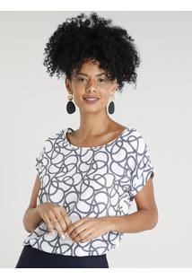Blusa Feminina Estampada De Corda Manga Curta Decote Redondo Branca