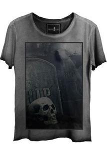 Camiseta Estonada Skull Graveyard Corte A Fio