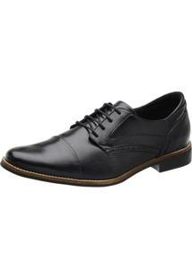 Sapato Social Couro Stefanello Recortes Masculino - Masculino-Preto