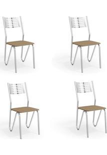 Conjunto Com 4 Cadeiras De Cozinha Napoles Cromado E Capuccino