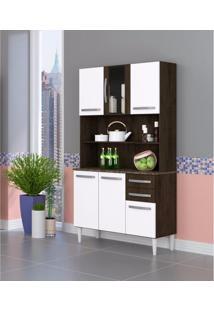 Armário De Cozinha 6 Portas 2 Gavetas 2306 Aramóveis Ravello/Branco