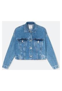 Jaqueta Cropped Jeans Com Cava Deslocada E Elástico Nas Costas | Blue Steel | Azul | Pp