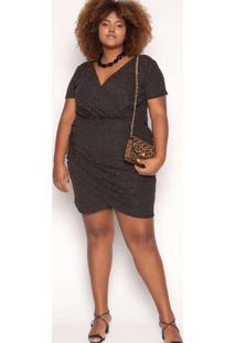 Vestido Almaria Plus Size Sinap Curto Lurex Preto