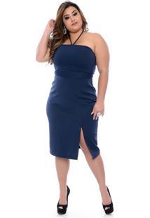 Vestido Tubinho Azul Plus Size