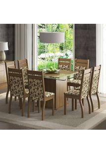 Conjunto De Mesa Com 8 Cadeiras Louise Rustic E Floral Bege