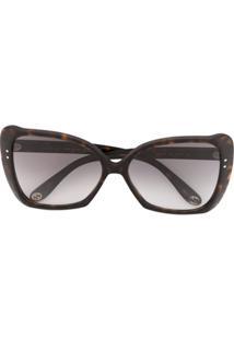 Gucci Eyewear Óculos De Sol Tartaruga Quadrado - Marrom