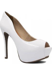 Sapato Zariff Shoes Meia Pata Peep Toe Branco