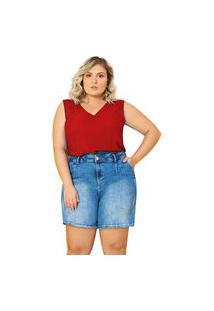 Blusa Plus Size Feminina Sem Manga Lisamour