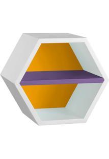 Nicho Hexagonal Favo Ii Com Prateleira Branco Com Amarelo E Roxo