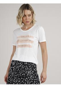 "Blusa Feminina ""Collection Of Moments"" Manga Curta Decote Redondo Off White"