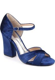Sandália De Veludo Spaço Criativo Salto Grosso - Feminino-Azul