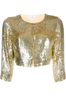 P.A.R.O.S.H. Jaqueta Cropped Com Paetês - Dourado