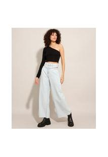 Calça Wide Jeans Cintura Super Alta Cut Out Azul Claro