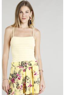 Body Feminino Texturizado Alças Finas Amarelo