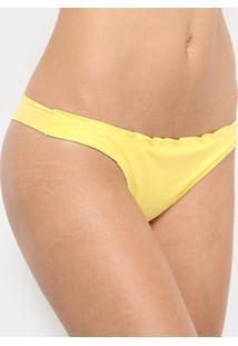 Calcinha Tanga Cia Maritima Ruffle - Feminino-Amarelo
