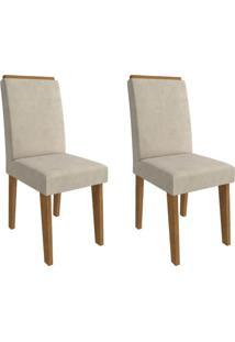 Conjunto Com 2 Cadeiras De Jantar Milena Suede Savana E Bege