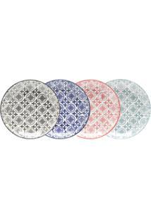 Jogo De Pratos 4 Pçs Para Sobremesa De Porcelana Royal Colorido 22Cm Lyor