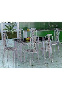 Conjunto De Mesa Com 6 Cadeiras Granada Prata E Branco Vd