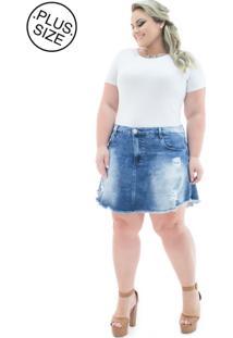 7c7c74b79f02c2 Saia Plus Size - Confidencial Extra Jeans Evasê Curta Com Lycra Plus Size  Azul