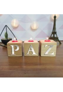 Cubo Decorativo Com Velas E Letras Em Acrílico Paz