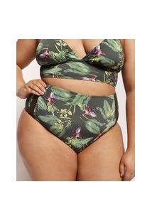 Biquíni Calcinha Plus Size Emi Beachwear Hot Pant Estampado Bananeiras Com Entremeio Proteção Uv50+ Biodegradável Verde Escuro