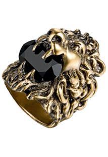 Gucci Anel Cabeça De Leão Com Swarovski - Dourado