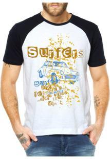 Camiseta Raglan Criativa Urbana Surfers - Masculino-Branco