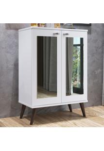 Estante Para Livros 2 Portas Com Espelho 3 Prateleiras Est130 Branco - Completa Móveis