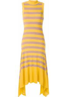 Eva Vestido De Tricô Listrado - Amarelo