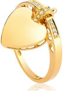 Anel De Ouro 18K De Coração Com Diamantes 6Pt