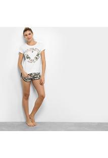 Pijama Censato Short Doll Camuflado Feminino - Feminino
