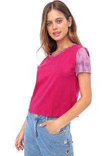 Blusa Cropped Fiveblu Tie Dye Rosa/Lilás