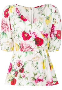 Dolce & Gabbana Blusa Envelope Floral - Branco