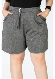 Shorts Plus Size Prata Com Bolsos