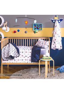 Edredom Baby Mariner Para Berço- Branco & Azul Marinho