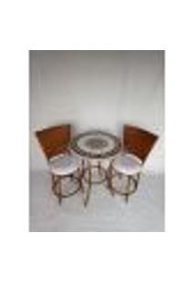 Conjunto De Mesa Bege E Branca Com Cadeiras Sacada