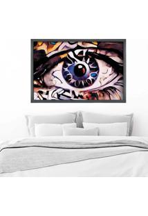 Quadro Love Decor Com Moldura Olhos Azuis Abstrato Grafitti Metalizado - Grande