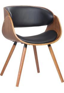 Cadeira Deise Preto Base Em Madeira - Rivatti Móveis